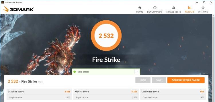 Xiaomi Notebook Air 13.3 指紋認証対応モデルのベンチマーク結果(FireStrike)