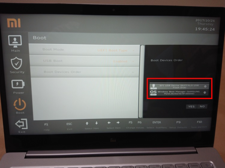 Xiaomi Notebook Air 13.3 指紋認証対応モデルのBIOS画面