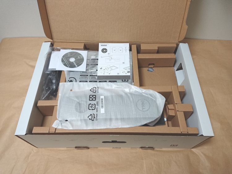 Dell S2716DGのパッケージを開いた様子