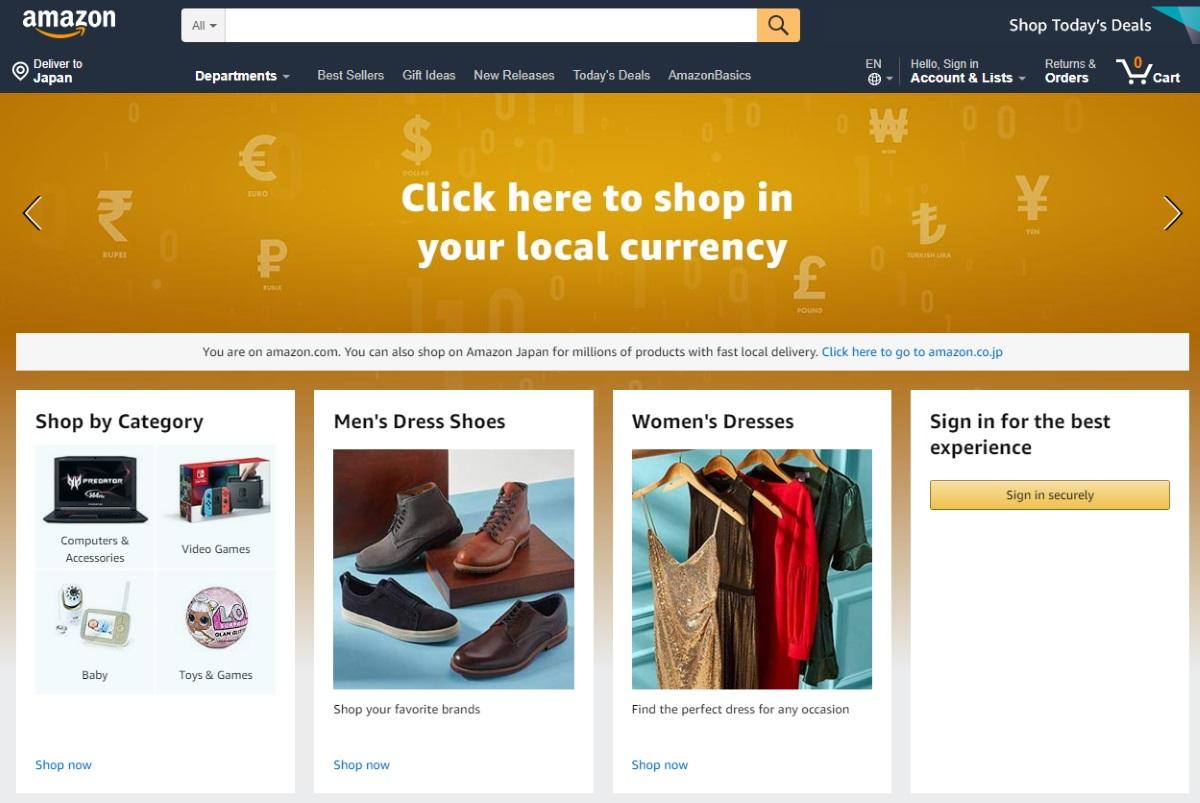 Amazon.comのトップページ