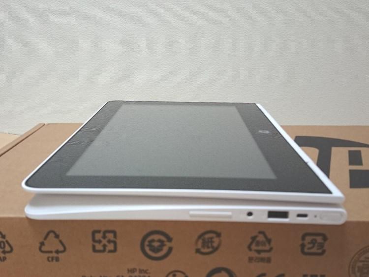 HP x360 11-ab051TU本体をタブレット状にした様子
