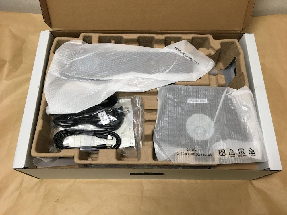 Dell S2419HGFのパッケージを開けた様子