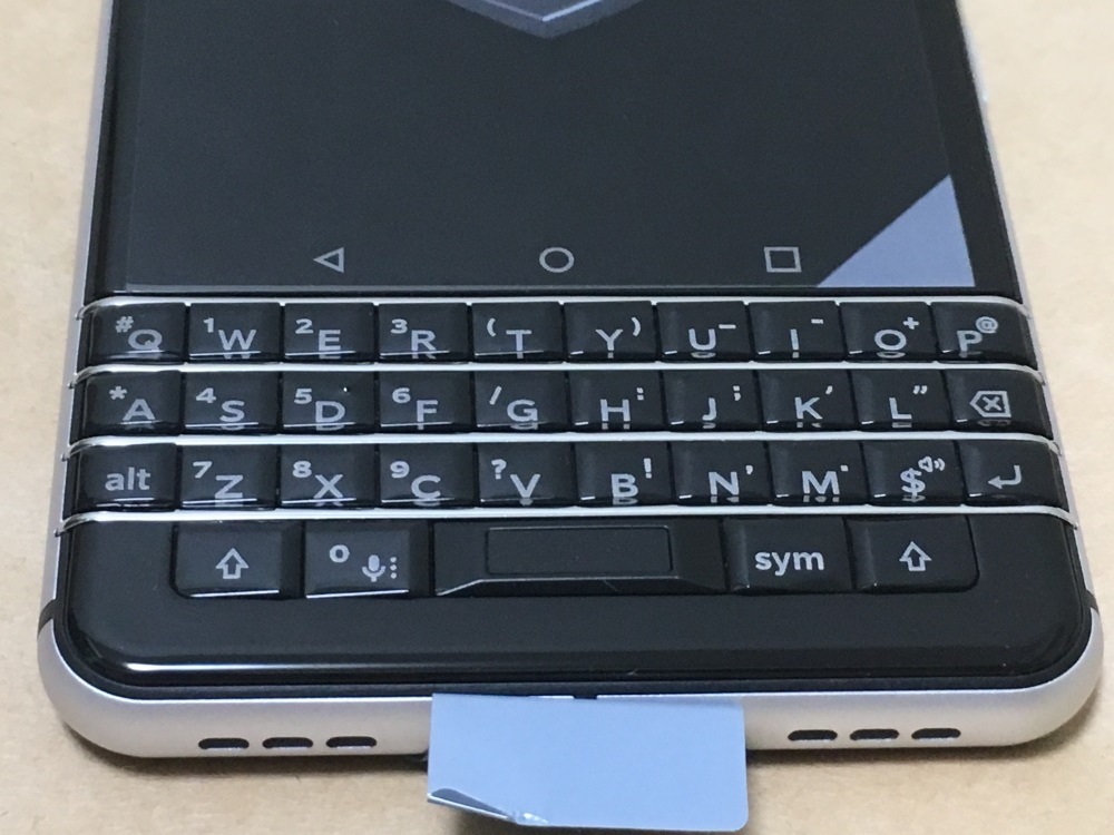 Blackberry KEYoneのキーボード配列