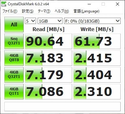 サンディスク SDSQUAR-200G-GN6MAのベンチマーク結果(CrystalDiskMark)