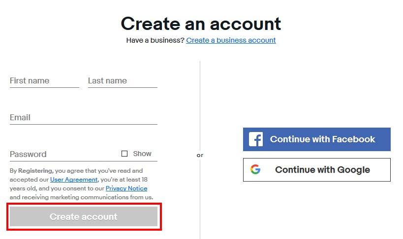 eBayアカウントの作成方法(手順03)