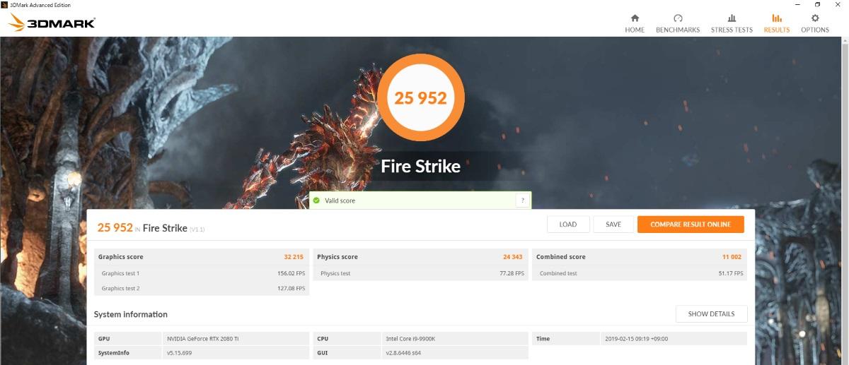 EVGA GeForce RTX 2080 Ti BLACK EDITIONのベンチマーク結果(FireStrike)