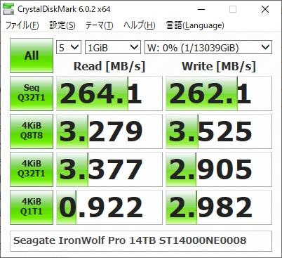 Seagate IronWolf Pro 14TB ST14000NE0008のCrystalDiskMarkの結果(1GiB)