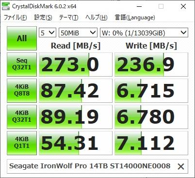 Seagate IronWolf Pro 14TB ST14000NE0008のCrystalDiskMarkの結果(50MiB)