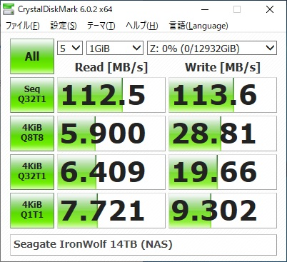 Seagate IronWolf 14TB ST14000VN0008のCrystalDiskMarkの結果(1GiB,NAS)
