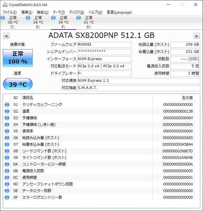 ADATA XPG SX8200 Pro ASX8200PNP-512GT-CのSMARTをCrystalDiskInfoで表示した様子