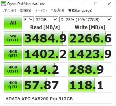 ADATA XPG SX8200 Pro ASX8200PNP-512GT-Cのベンチマーク結果(CrystalDiskMark 32GiB)
