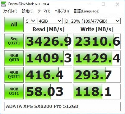 ADATA XPG SX8200 Pro ASX8200PNP-512GT-Cのベンチマーク結果(CrystalDiskMark 4GiB)