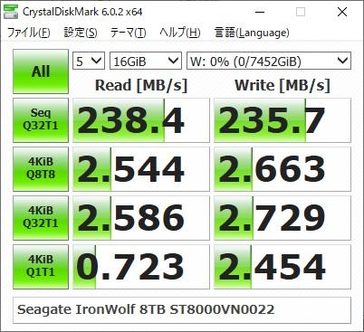 Seagate IronWolf 8TB ST8000VN0022のベンチマーク結果(CrystalDiskMark 16GiB)