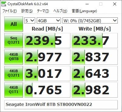 Seagate IronWolf 8TB ST8000VN0022のベンチマーク結果(CrystalDiskMark 4GiB)