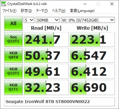 Seagate IronWolf 8TB ST8000VN0022のベンチマーク結果(CrystalDiskMark 50MiB)