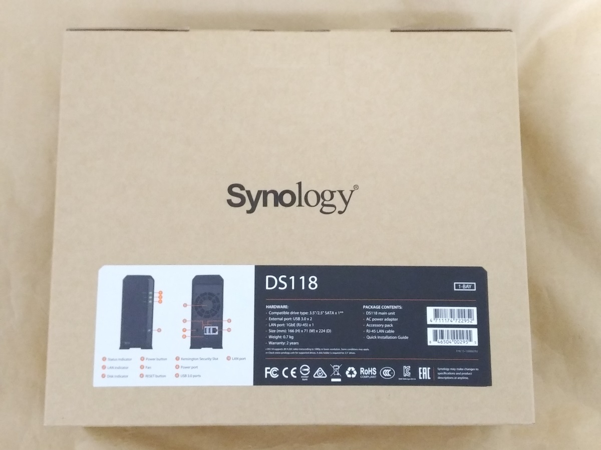 Synology DiskStation DS118のパッケージ裏面