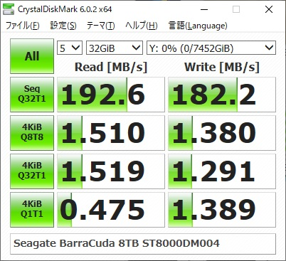Seagate ST8000DM004のベンチマーク結果(CrystalDiskMark 32GiB)
