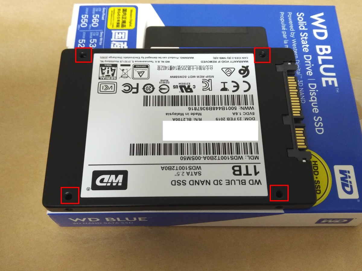 WESTERN DIGITAL WD Blue WDS100T2B0A本体裏面