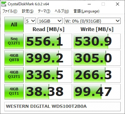WESTERN DIGITAL WD Blue WDS100T2B0Aのベンチマーク結果(CrystalDiskMark 16GiB)