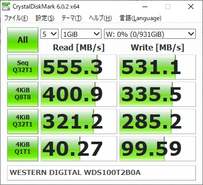 WESTERN DIGITAL WD Blue WDS100T2B0Aのベンチマーク結果(CrystalDiskMark 1GiB)