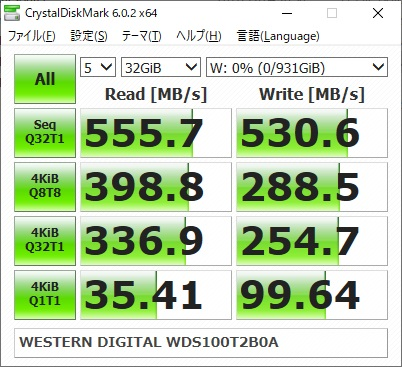 WESTERN DIGITAL WD Blue WDS100T2B0Aのベンチマーク結果(CrystalDiskMark 32GiB)