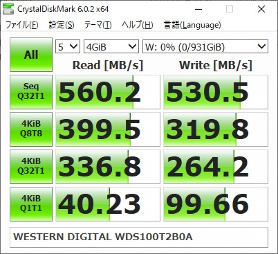 WESTERN DIGITAL WD Blue WDS100T2B0Aのベンチマーク結果(CrystalDiskMark 4GiB)