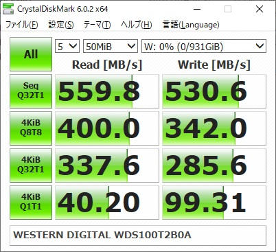 WESTERN DIGITAL WD Blue WDS100T2B0Aのベンチマーク結果(CrystalDiskMark 50MiB)