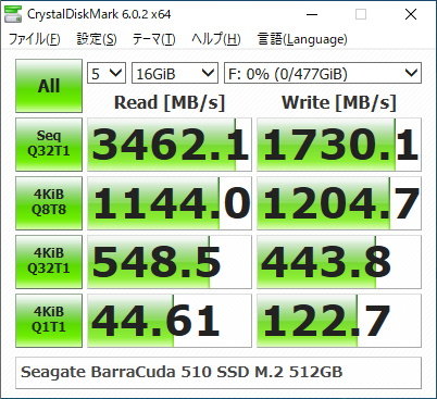 Seagate BarraCuda 510 SSD M.2 512GBのベンチマーク結果(CrystalDiskMark 16GiB)