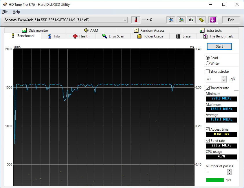 Seagate BarraCuda 510 SSD M.2 512GBのベンチマーク結果(HD Tune Pro Read)