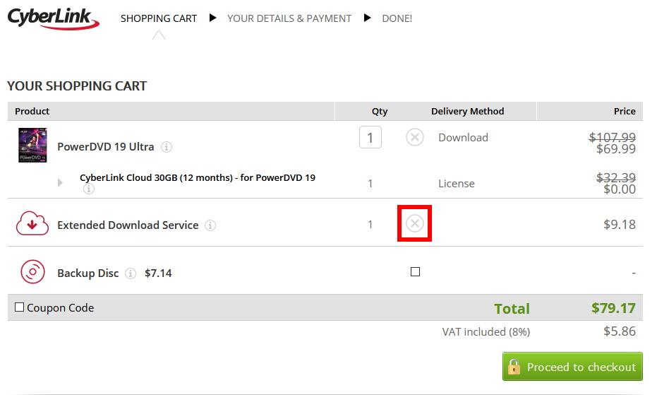 PowerDVD 19 Ultraを最安値で買う方法(手順5)