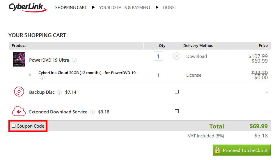 PowerDVD 19 Ultraを最安値で買う方法(手順6)