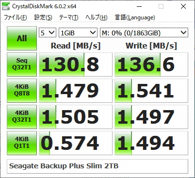 Seagate Backup Plus Slim 2TBのベンチマークをCrystalDiskMarkで計測した様子