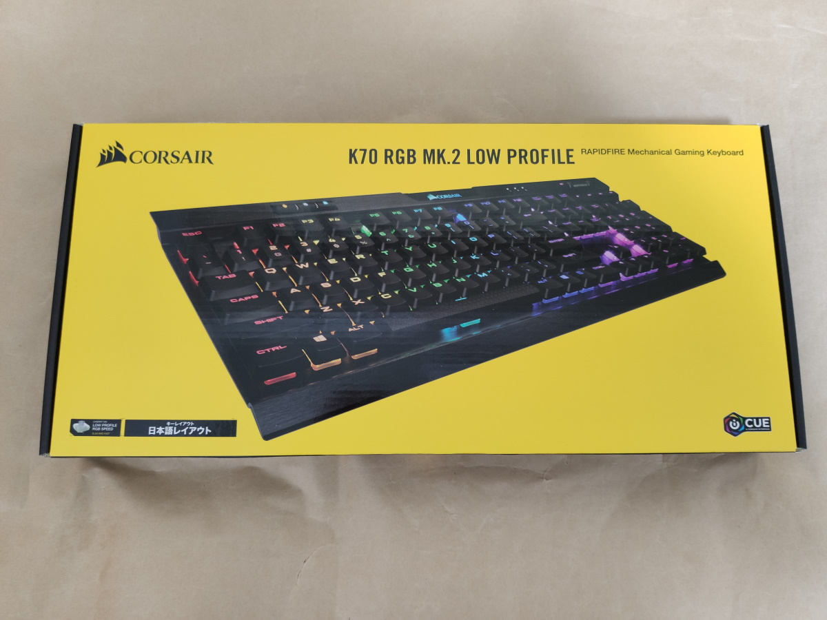 Corsair K70 RGB MK.2 LOW PROFILE RAPIDFIREのパッケージ
