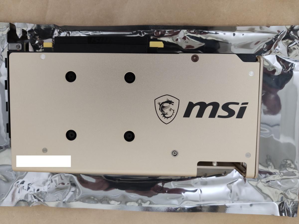 MSI Radeon RX 5700 XT EVOKE OC本体バックプレート側の様子