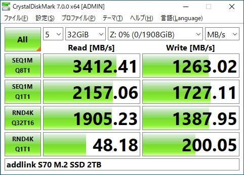 addlink ad2TBS70M2Pのベンチマーク結果(CrystalDiskMark 32GiB)