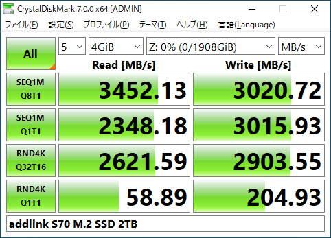 addlink ad2TBS70M2Pのベンチマーク結果(CrystalDiskMark 4GiB)