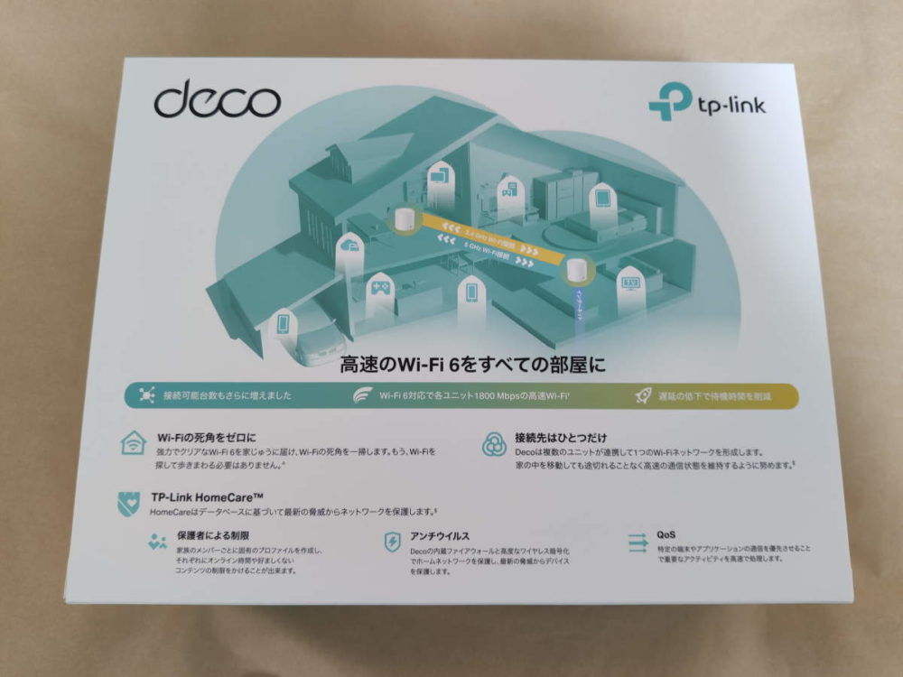 TP-Link Deco X20のパッケージ裏側
