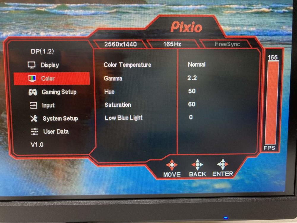 Pixio PX277 Prime(PX277P)のOSDメニュー(Color)