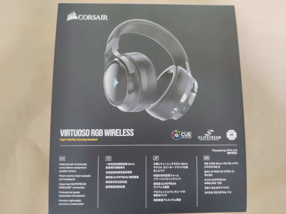 Corsair VIRTUOSO RGB Wirelessのパッケージ裏側