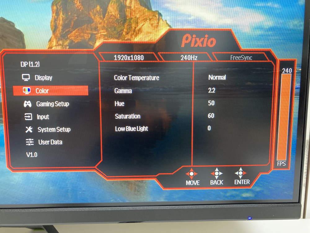 Pixio PX279 Prime(PX279P)のOSDメニュー(Color)