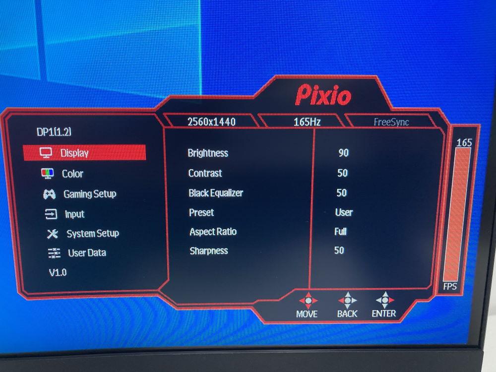 Pixio PXC327のOSDメニュー(Display)