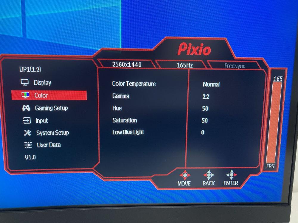 Pixio PXC327のOSDメニュー(Color)