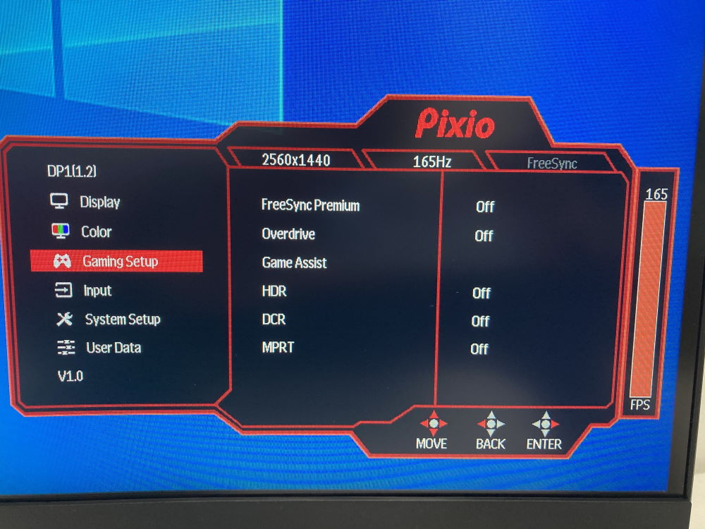 Pixio PXC327のOSDメニュー(Gaming Setup)