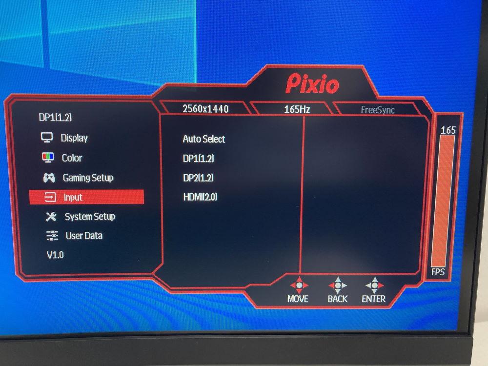 Pixio PXC327のOSDメニュー(Input)