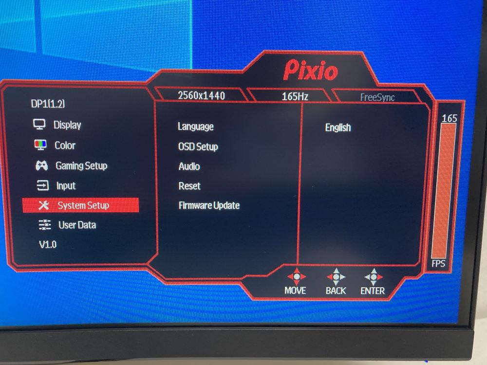 Pixio PXC327のOSDメニュー(System Setup)