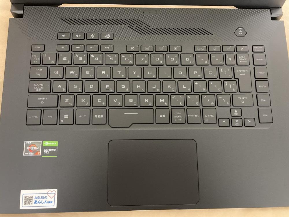 ASUS ROG Zephyrus G15 GA502IUのキーボード部